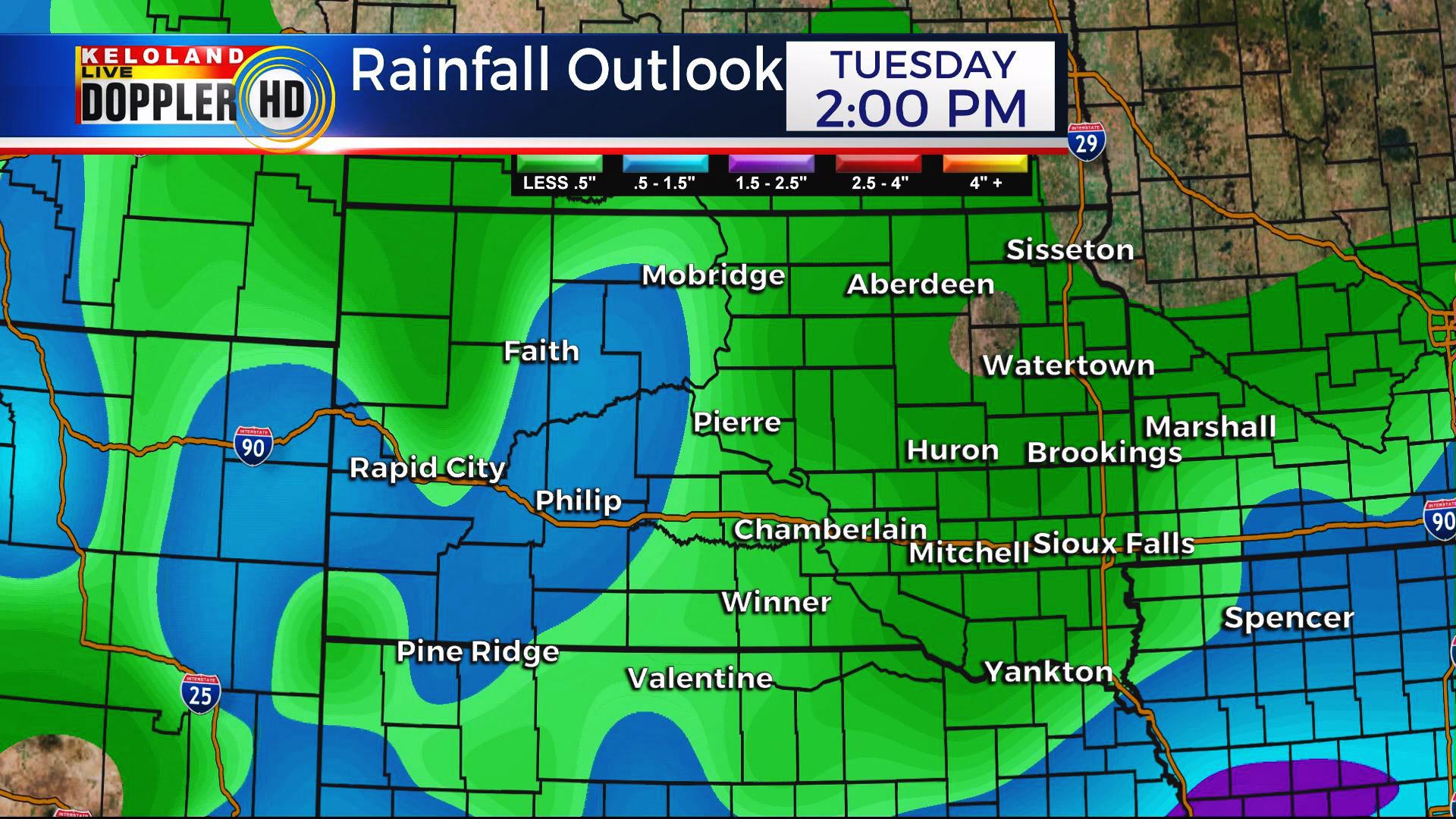 KELO Rain forecast South Dakota