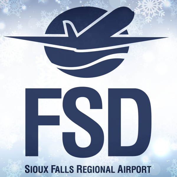 KELO Sioux Falls Regional Airport FSD logo stacked snow