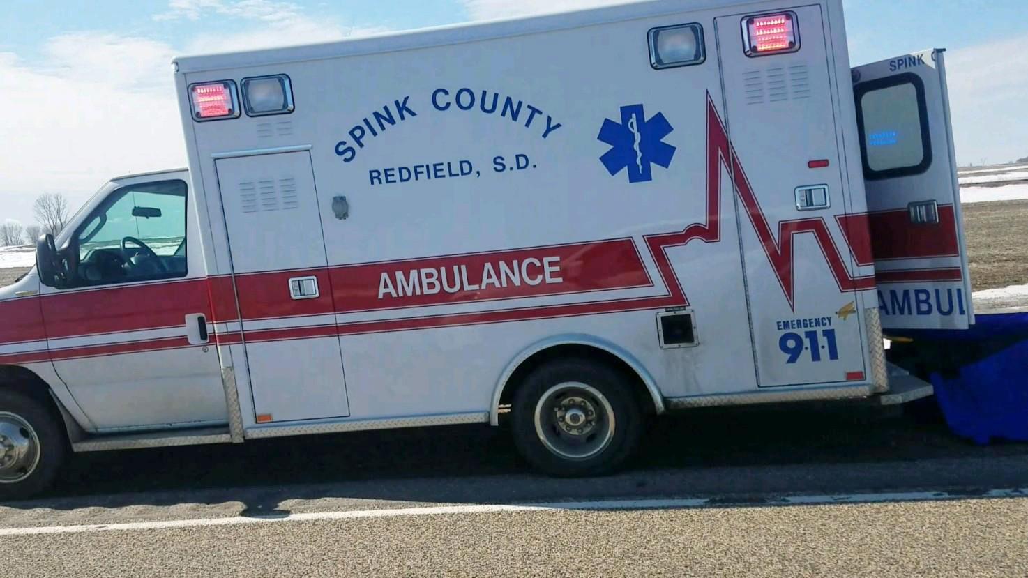 KELO ambulance Spink County crash Tulare
