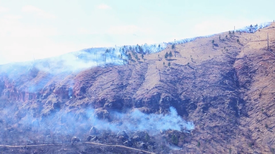 Schroeder Fire burns on Tuesday west of Rapid City
