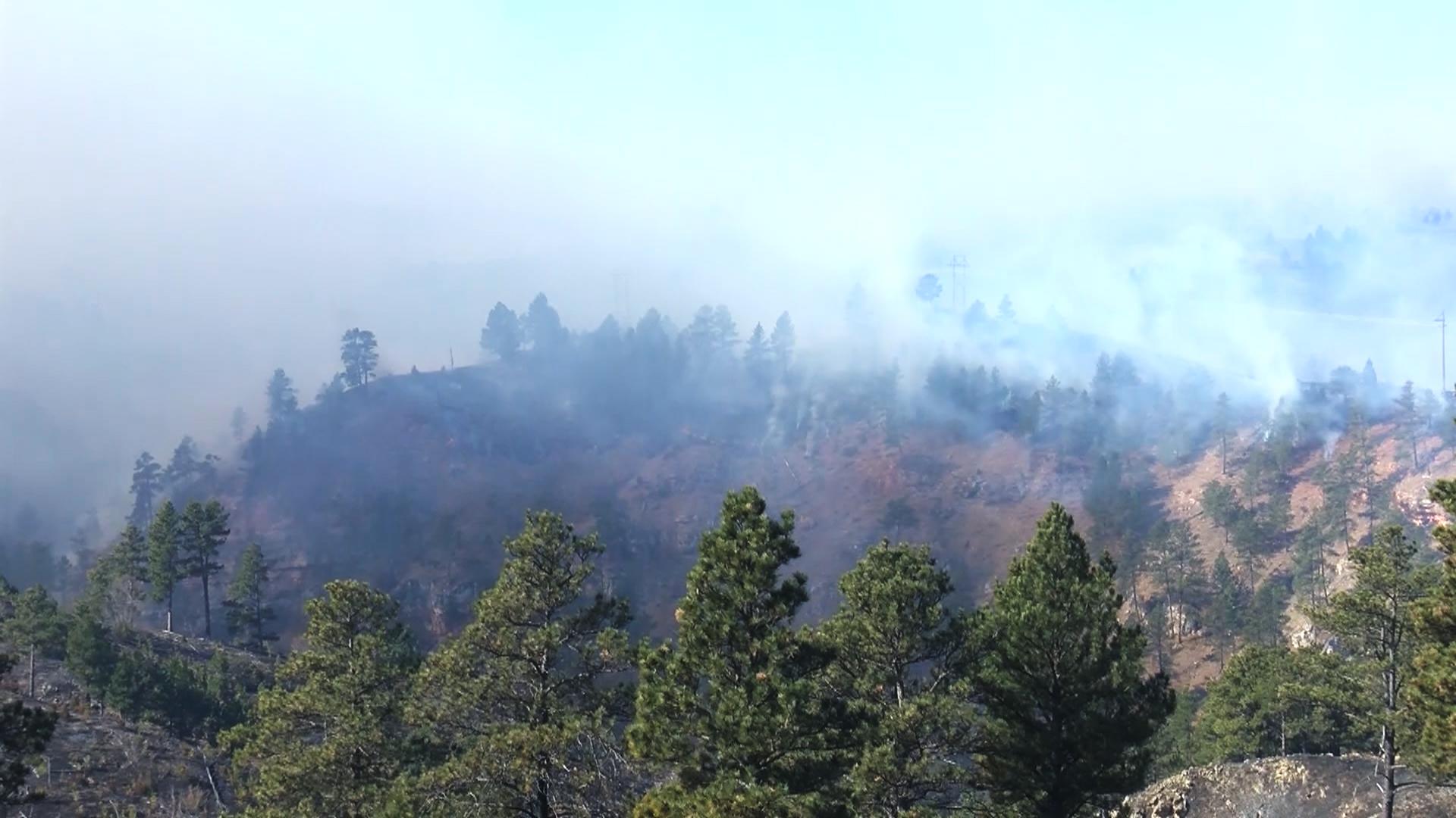 Smoke from Schroeder fire over Black Hills